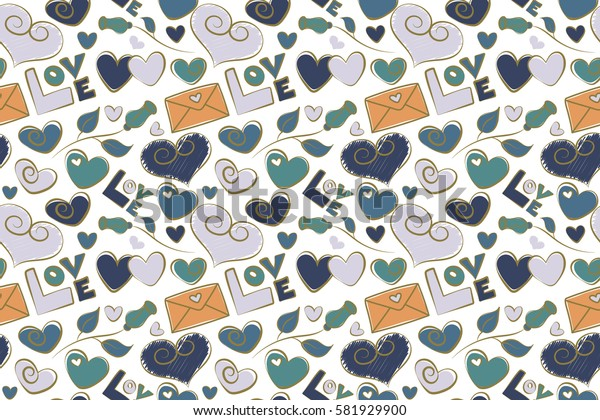 Abstract love seamless pattern on a white background. Raster heart, love letter and text seamless pattern. Valentines day background in orange and blue colors.