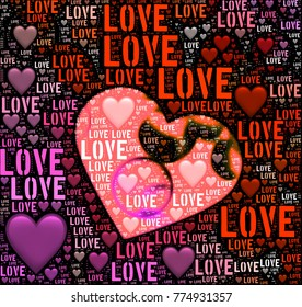 Abstract love words with hearts illustration image