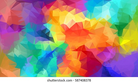 Abstract low poly background. Pattern of triangles. Polygonal design. Full-color all colors of the rainbow. All colors of the rainbow. Raster copy