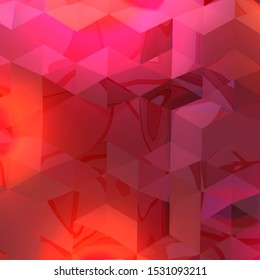 Abstract. Low poly design. 3D rendering. Triangle pattern. Crimson. Square image. Red background.