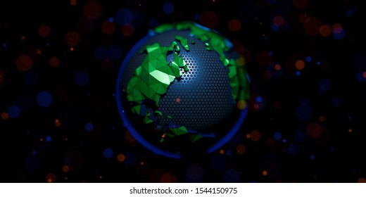 Abstract low poly globe planet earth. Background for crypto cyber security technology or global network. Digital theme. 3D render