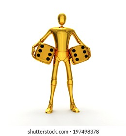 Abstract lucky golden character with golden dices 3d rendered isolated on white background
