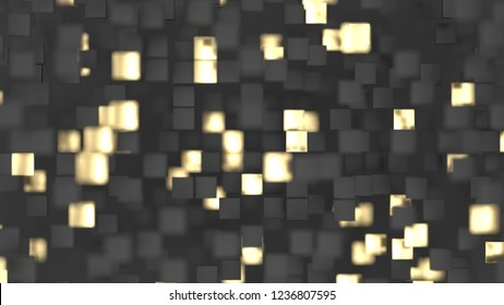 Abstract lux background with black and gold 3d squares. 3d render illustration
