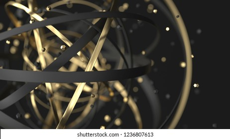 Abstract luxury background. 3d gold and black rings with particles. 3d render illustration