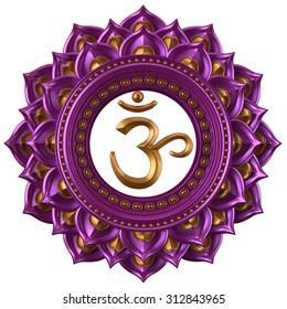 abstract magenta Sahasrara chakra symbol, 3d modern illustration