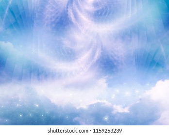 abstract magic mystic angelic background with sky, clouds and stars