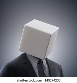 Abstract male figure with a box head