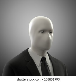 Abstract male figure without a face in a suit
