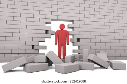 Abstract man breaking trough a wall. Concept of solution to the problem