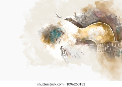 Abstract man playing acoustic guitar watercolor painting background.