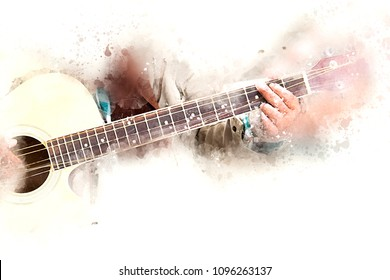 Abstract a man playing acoustic guitar watercolor colorful painting background.