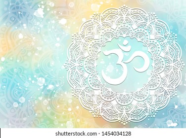 Abstract mandala graphic design and diwali om hinduism symbol with watercolor digital painting for decorative elements backgrounds