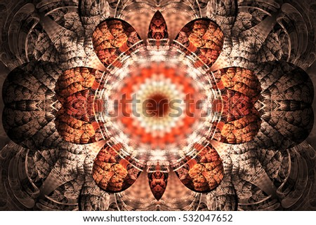 513ac8f82 Abstract mandala on black background. Intricate symmetrical pattern in  orange and beige colors. Fantasy