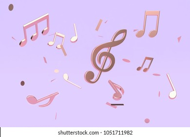 abstract many metallic copper key note music floating violet-purple background 3d rendering