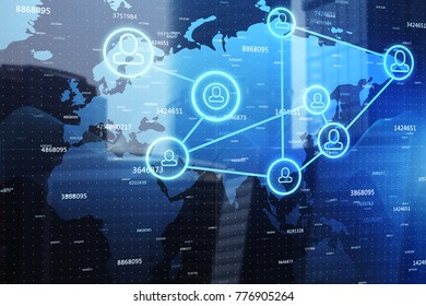 Abstract map with digital network on abstract city background. Global business and recruiting concept. Double exposure