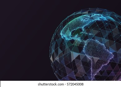 Abstract map of the global telecommunications network.