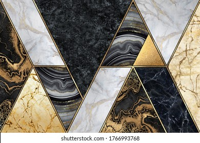 abstract marble mosaic background, art deco wallpaper, artificial stone texture, black white gold marbled tile, geometrical fashion marbling illustration