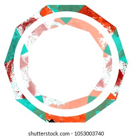 Abstract marble paper artwork with geometric design - decagon