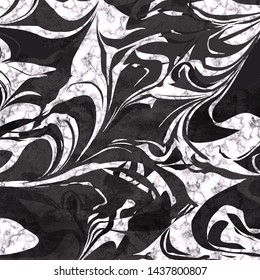 Abstract marble texture in black and white colors. Artistic background: dynamic marbling flow. Digital art creative illustration for cover, poster, flyer, paper, surface designs