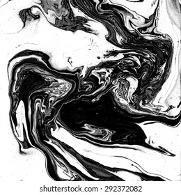 Abstract marble texture. Black and white background. Handmade technique. Liquid paint. Watercolour stains.