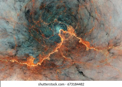 Abstract marble texture. Fractal background in orange and green golden colors. Fantasy digital art. 3D rendering.