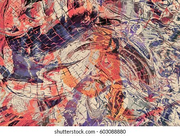 Abstract Marbled Painting Warm Wallpaper Shattered
