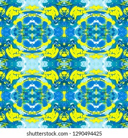 Abstract marbling, ebru style seamless pattern, background with waves and splashes of blue and yellow colors. Colorful kaleidoscope ebru, marbling seamless pattern to be used as an abstract background