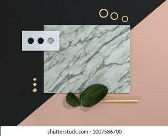 Abstract material board composition 3D illustration