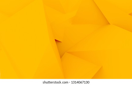 Abstract material design geometric yellow colour background. Template for bisiness or art presentation. 3d illustration
