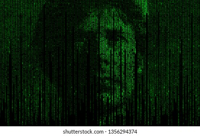 Abstract matrix digital numbers artifical intelligence ai theme with human face