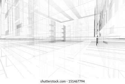 Abstract matrix wireframe space