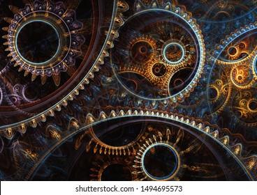 Abstrakter mechanischer Hintergrund, Steampunk-Fraktal