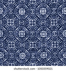 Abstract Medallion Graphic Motif Indigo-Dyed Effect Textured Background. Seamless Pattern.