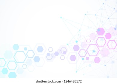 Abstract medical background. DNA research. Hexagonal structure molecule and communication background for medicine, science, technology, illustration