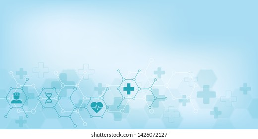 Abstract medical background with flat icons and symbols. Template design with concept and idea for healthcare technology, innovation medicine, health, science and research