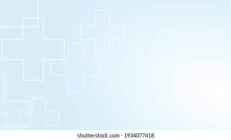 Abstract medical white blue cross pattern background. Graphic illustrations healthcare technology and science concept.