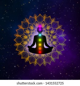 Abstract meditation man with seven chakras and mandala in the galaxy illustration design background.