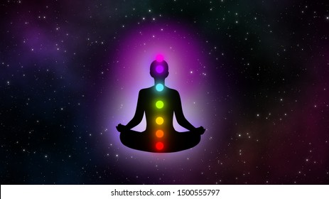 Abstract meditation man with seven chakras in the galaxy illustration design background.