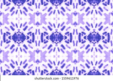 Abstract Mediterranean Ethnic Decor. Grunge Ethnic. Watercolor Wallpaper On Paper Texture. Dripping Stripes Seamless. Double Style. Blur Blue, Indigo On White.