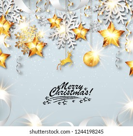 Abstract Merry Christmas greeting card with silver and golden snowflakes, event ball, stars and ribbons