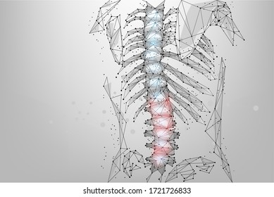 Abstract mesh line and dot physiotherapy human spine. Low poly Pain area surgery operation. Polygonal render female back hernia illustration