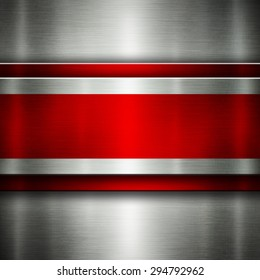 Abstract metal background silver and red