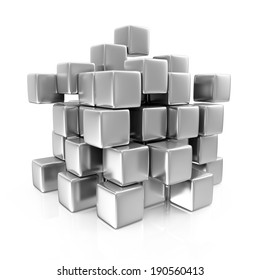 Abstract Metal Cubes isolated on white background