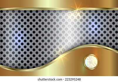 abstract metal gold and silver background with curve  in tabloid format