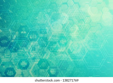 Abstract metal vintage molecules medical background