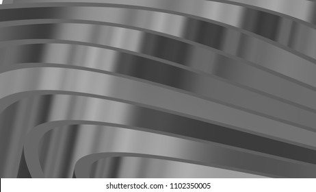 Abstract metallic steel waves concept tech background. 3d rendering.