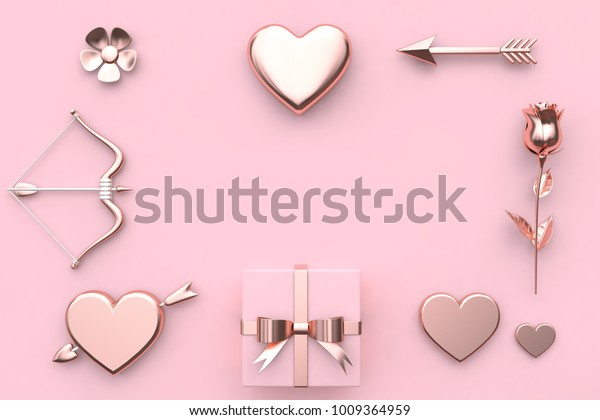 abstract metallic valentine concept 3d rendering flower heart arrow bow gift box rose pink background