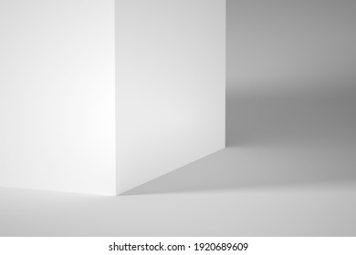 Abstract minimal architectural background. White wall with soft shadows. 3d rendering illustration