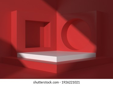 abstract minimal red color geometric shape background, showcase mockup for podium display, 3d rendering
