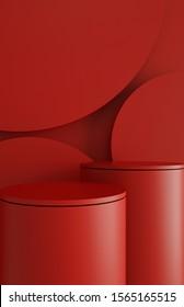 Abstrakte minimale Szene 3D-Rendering-Hintergrund mit geometrischen Formen, kann für kommerzielle Werbung verwendet werden.